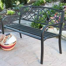 coral coast fara wood and metal 50 in curved back garden bench