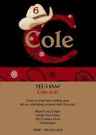 boys cowboy hat red bandana birthday invitations