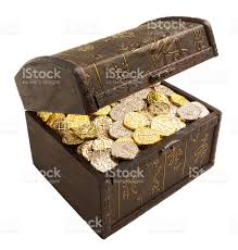treasure chest with gold and silver doubloons isolated on white