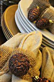 thanksgiving napkin rings craft easy to make burlap napkin rings with sparkly pinecones