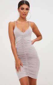 grey bodycon dress grey slinky ruched strappy bodycon dress dresses