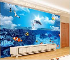 popular wall murals fish buy cheap wall murals fish lots from custom mural 3d wallpaper dolphin fish tv wall room home decor painting 3d wall murals wallpaper