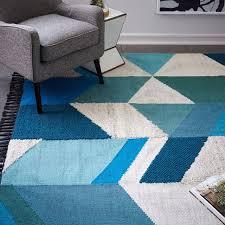 awesome stylish geo shag wool kilim rug west elm peacock blue area Peacock Area Rugs