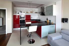 red accent kitchen in apartment neopolis interior design