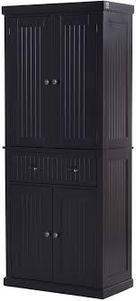 black kitchen pantry cupboard homcom 72 traditional freestanding kitchen pantry cabinet cupboard with doors and 3 adjustable shelves black