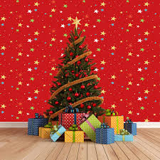 allenjoy photography backdrop christmas tree gifts red wall