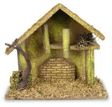 amazon com nativity creche nativity stable covered with moss