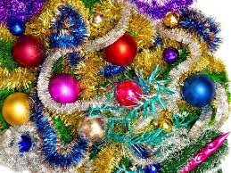 christmas tinsel new background of christmas decorations and tinsel stock photo