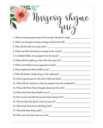 nursery rhyme baby shower floral baby shower nursery rhyme quiz printable littlesizzle