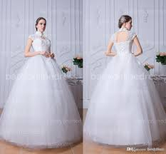 high collar white ball gown tulle wedding dresses cap sleeves