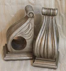pair of curtain swag rod holders brackets corbels shabby chic