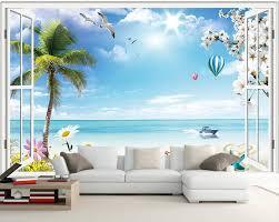 popular custom wallpaper scenery outside window buy cheap custom custom photo 3d room wallpaper mural seaside scenery outside window painting 3d wall murals wallpaper for