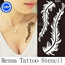 wholesale one piece henna tattoo stencils for painting feather