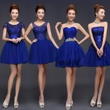 online shop royal blue bridesmaid dress cute mini puffy lace