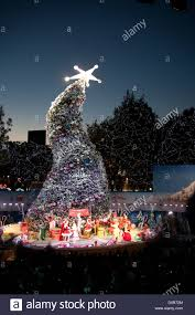Universal Studios Christmas Ornaments - the crooked christmas tree at grinchmas at universal studios stock