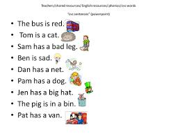 cvc sentences by cariad2 teaching resources tes