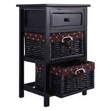 costway night stand 3 tiers 1 drawer bedside end table organizer