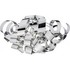 ribbon light chrome ribbon wrapped flush fitting low ceiling light in modern design