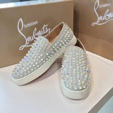 christian louboutin roller boat slide on pearl spikes low top