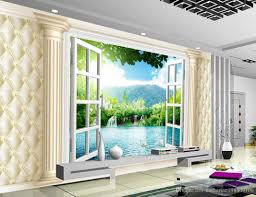 photo customize size 3d windows soft bag background wall mural 3d 35