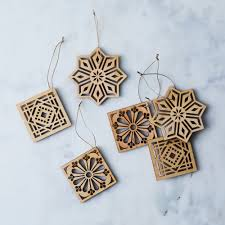 laser cut maple mosaic ornaments set of 6 on food52