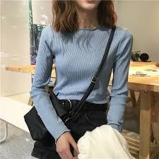 blouse tumbler itgirl shop curly edge basic colors sleeve slim knit blouse