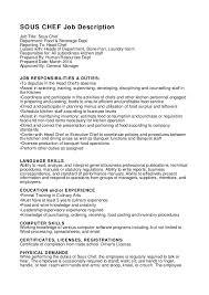 Resume Sous Chef Sous Chef Job Description