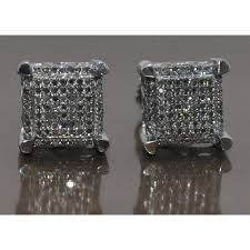 black diamond earrings mens diamond stud earrings mens xl square princess 25ct 10k gold 9mm