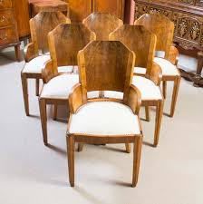 Art Deco Dining Room Chairs Antique 6 Art Deco Burr Walnut Dining Chairs C 1920