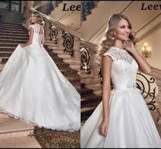 chapel wedding dresses 2016 sheer wedding dresses with neck lace sash