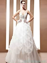 a line ruffled spaghetti beaded wedding gowns with low back ball