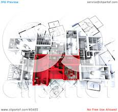 clipart illustration of an aerial view of red and white 3d home