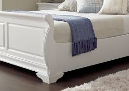 White Sleigh Bed White Wooden Sleigh Bed With Storage Drawers Railing Stairs And