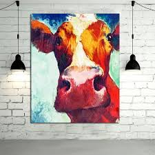Cow Home Decor Large Paintings Handmade Wall Painting Color Cow Picture On