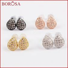 spacer earrings borosa cz pave tiny drop earrings drusy cubic zircon