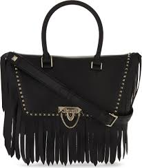 lyst valentino demilune fringed leather tote bag in black