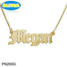 stainless steel name necklace images Olivia customized stainless steel jewelry parts old english name jpg