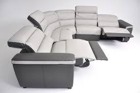 furniture white and grey leather l shape recliner sofa with arm
