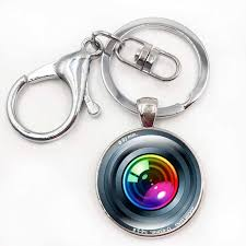 color key rings images Silver color key chain camera lens keychain jewelry handmade art jpg