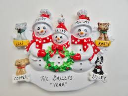 personalized family of three ornament with pets added