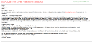 marketing executive offer letter