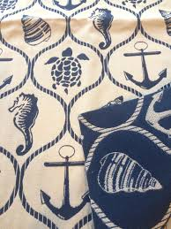 Nautical Home Decor Fabric by Reversible Seaside Nautical Print Upholstery Fabric Remnant Home