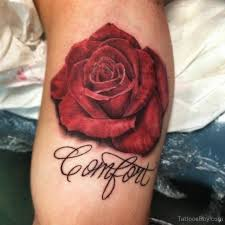 3d red rose tattoo on arm left arm