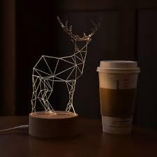 3d led usb deer night table light creative animal solid wood