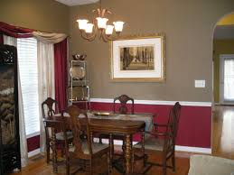 chocolate and red walls with chair rail chat noir dining room