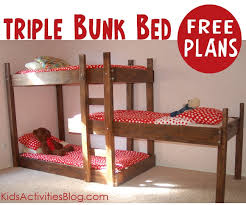 build a bed free plans for triple bunk beds triple bunk beds