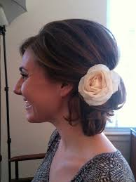 low side bun with lots of volume hair by casey powell wedding