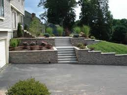 Backyard Improvement Ideas Terraced Backyard With Attractive Block Retaining Wall Loversiq