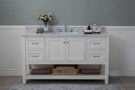 white shaker 60 bathroom vanity 2 drawers 1 sink open shelf w