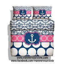 monogrammed nautical anchor bedding pink and navy
